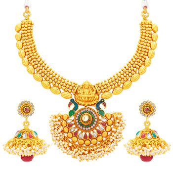 Incredible Laxmi Peacock Laxmi Temple Gold Plated Necklace Set For Women