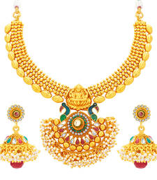 Buy Incredible Laxmi Peacock Laxmi Temple Gold Plated Necklace Set For Women necklace-set online