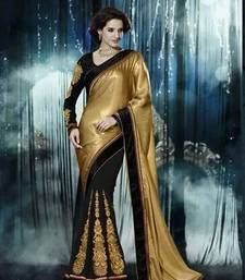 Buy Black embroidred georgette saree with blouse Saree online