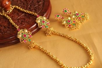 Royal Designer Goldplated Ruby Emerald Mugappu Set