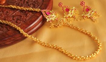Royal Designer Ruby Mugappu Necklace Set