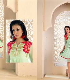 Buy Aqua green georgette embroidered stitched kurti georgette-kurtis online