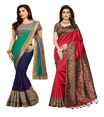 Multicolor embroidery georgette and printed silk saree combo pack of-2 saree