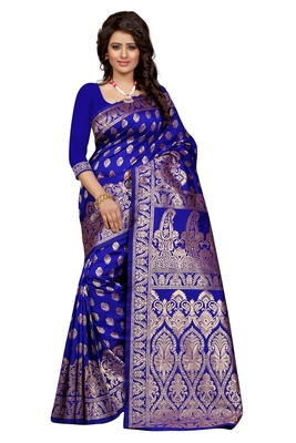 Blue plain Banarasi Art silk saree With Blouse