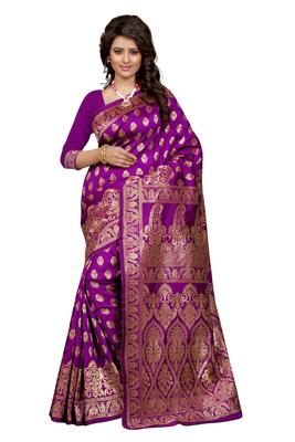 Purple plain Banarasi art silk saree With Blouse