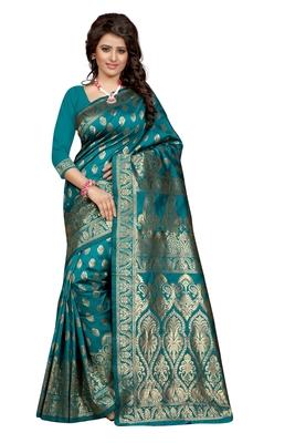 Turquoise plain Banarasi art silk saree With Blouse