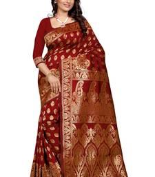 Buy Maroon Banarasi saree With Blouse wedding-saree online