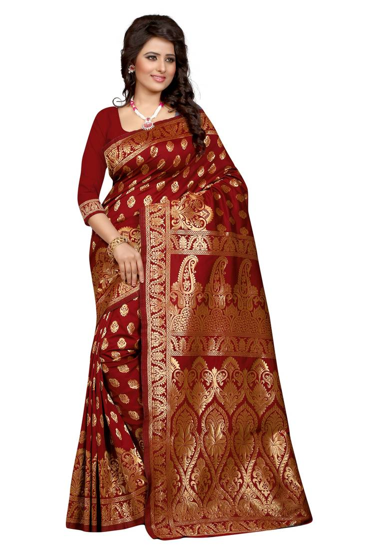 Buy Maroon Banarasi Art Silk Saree With Blouse Online