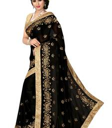 Buy Black embroidered chiffon saree With Blouse bollywood-saree online