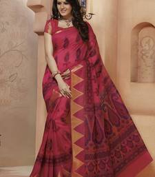 Buy Red printed Gadwal Cotton saree With Blouse kalamkari-saree online