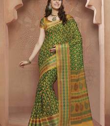 Buy Green,Gold printed Gadwal Cotton saree With Blouse kalamkari-saree online