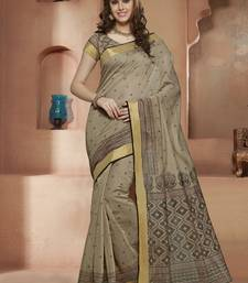 Buy Brown printed Gadwal Cotton saree With Blouse kalamkari-saree online