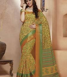 Buy Yellow printed Gadwal Cotton saree With Blouse kalamkari-saree online