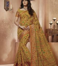 Buy Gold printed Gadwal Cotton saree With Blouse kalamkari-saree online