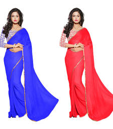 Buy Blue & Red printed Chiffon saree With Blouse sarees-combo-sari online