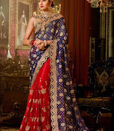 Buy Blue and Red embroidered georgette saree With Blouse wedding-saree online