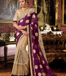 Buy Violet and Beige embroidered georgette saree With Blouse wedding-saree online