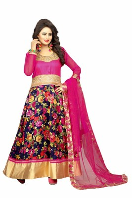 Pink silk embroidered semi stitiched salwar with dupatta