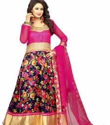 Buy Pink silk embroidered semi stitiched salwar with dupatta anarkali-salwar-kameez online