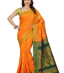 Buy Yellow woven silk saree with blouse silk-saree online