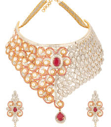 Buy POWER Collection Studded Pearl Red Colour Bridal Choker Diamond Imitation Necklace Set For Women bridal-set online