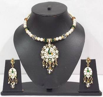 White Peacock Minakari and kundan Stud set
