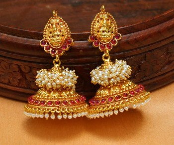 003a13e415 Gorgeous Geru Polish one gram gold Temple Jhumkas - URSHI ...