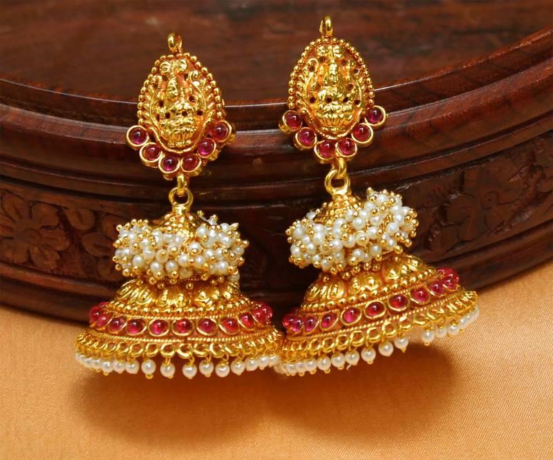 Gorgeous Geru Polish One Gram Gold Temple Jhumkas Urshi