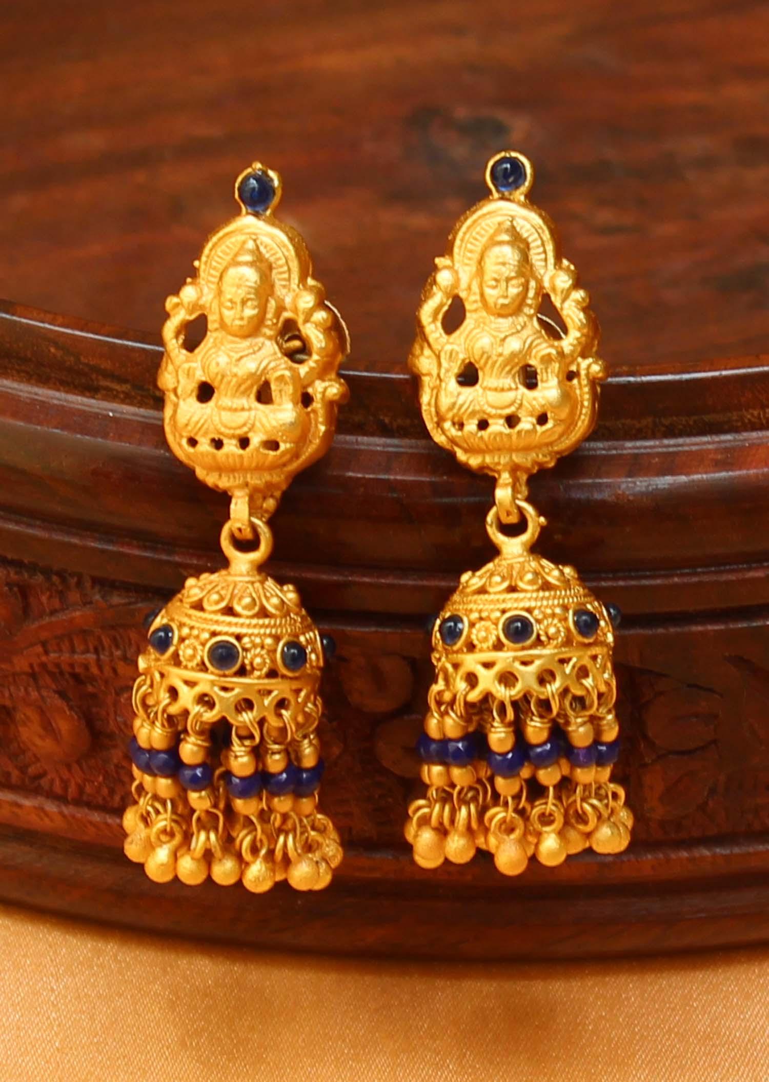 15b5d748588cc Gorgeous matt finish one gram gold temple jhumkas