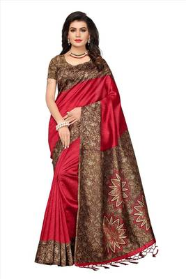Red printed silk saree with multicolour printed blouse