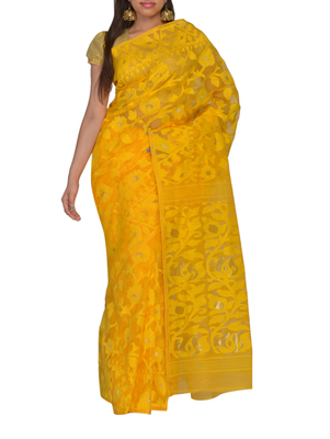 Yellow Bengal hand-loom  Silk Cotton  jamdani sari without Blouse