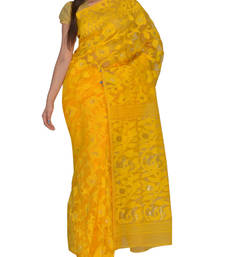 Buy Yellow Bengal hand-loom  Silk Cotton  jamdani sari without Blouse handloom-saree online