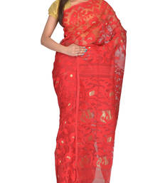 Buy Red Bengal handloom  Silk Cotton  jamdani sari without Blouse handloom-saree online