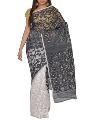 Black & White Bengal handloom  Silk Cotton  jamdani sari without Blouse