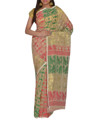 Beige & Multicolour Bengal handloom  Silk Cotton  jamdani sari without Blouse