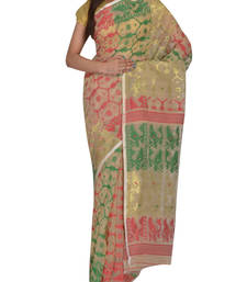 Buy Beige & Multicolour Bengal handloom  Silk Cotton  jamdani sari without Blouse handloom-saree online