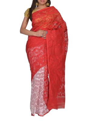 White & Red Bengal handloom  Silk Cotton  jamdani sari without Blouse