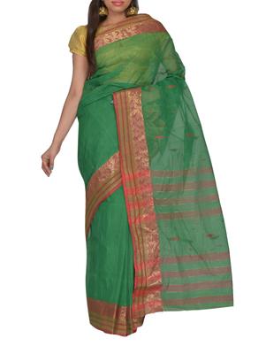 Green Bengal handloom Cotton Jari sari without Blouse