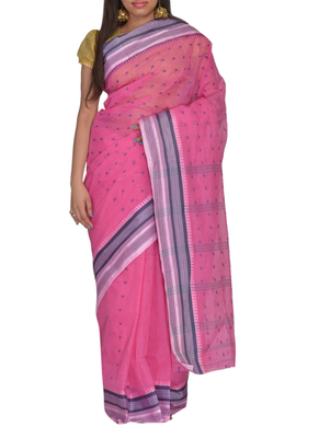 Pink Bengal handloom Cotton Jari sari without Blouse