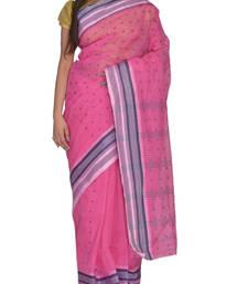 Buy Pink Bengal handloom Cotton Jari sari without Blouse handloom-saree online