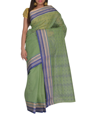 Green Bengal handloom Cotton Jari sari without Blouse
