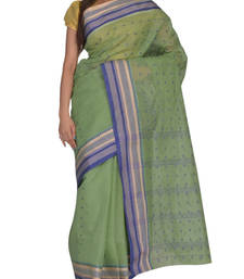 Buy Green Bengal handloom Cotton Jari sari without Blouse handloom-saree online