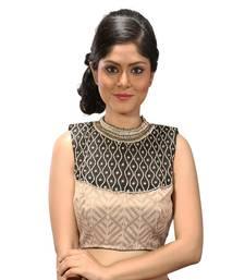 Beige tissue silk  hand work stitched blouse