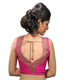 Pink raw silk hand work stitched blouse