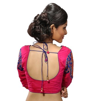Pink chanderi silk embroidered stitched blouse