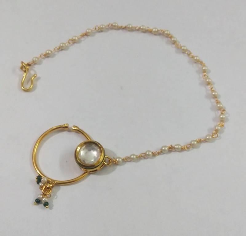Buy India bridal wear kundan bridal nose ring line