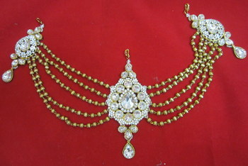 Hair Accessory Gold Crystal Back Tika Tikka Matha Patti