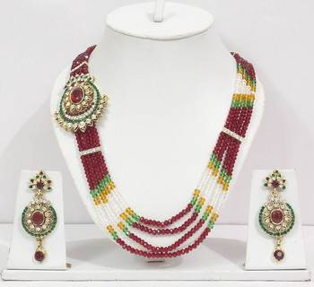 Off Center Pendent Red Crystal Necklace Set