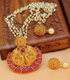 Buy Designer matt finish gold plated peacock pendant set with pearl chain south-indian-jewellery online