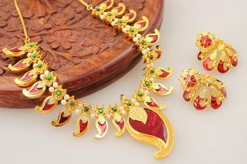 Gorgeous Antique Maroon Palakka Necklace Set